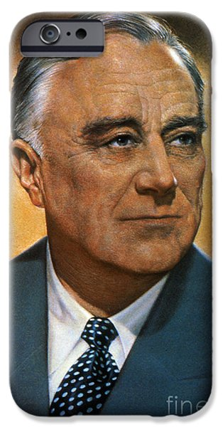 1940s Portraits iPhone Cases - Franklin D. Roosevelt iPhone Case by Granger