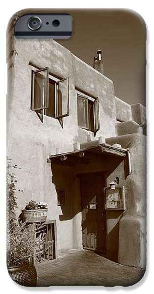 Business iPhone Cases - Santa Fe - Adobe Building iPhone Case by Frank Romeo
