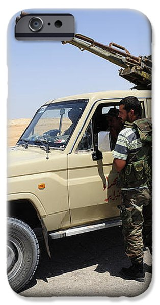 A Free Libyan Army Pickup Truck iPhone Case by Andrew Chittock