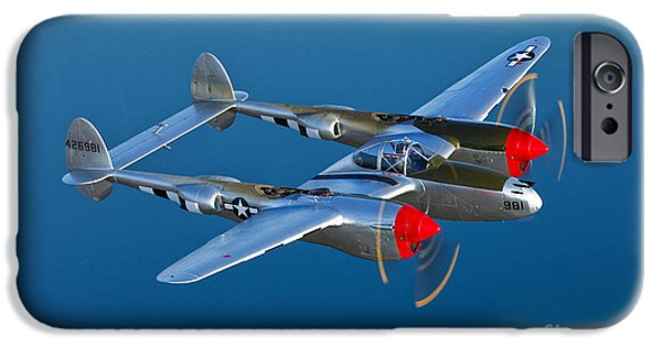 World War One iPhone Cases - A Lockheed P-38 Lightning Fighter iPhone Case by Scott Germain