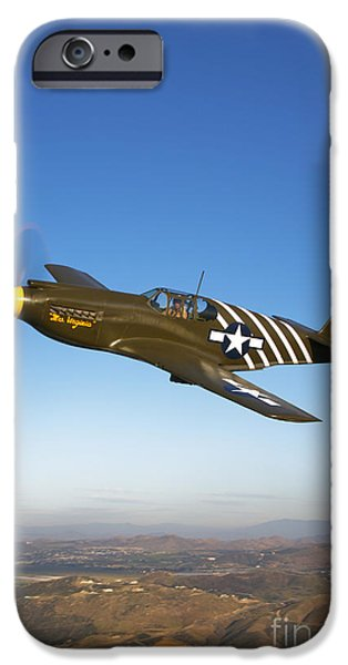 World War One iPhone Cases - A P-51a Mustang In Flight iPhone Case by Scott Germain