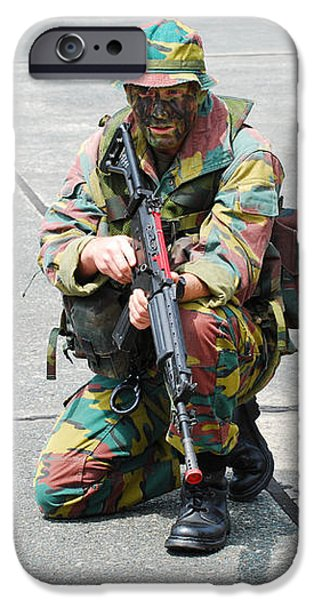 A Paratrooper Of The Belgian Army iPhone Case by Luc De Jaeger
