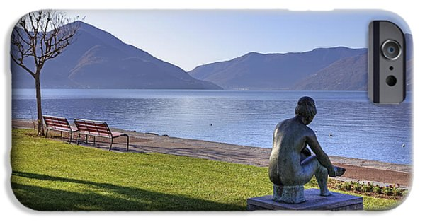 Sculpture iPhone Cases - Ascona - Lake Maggiore iPhone Case by Joana Kruse