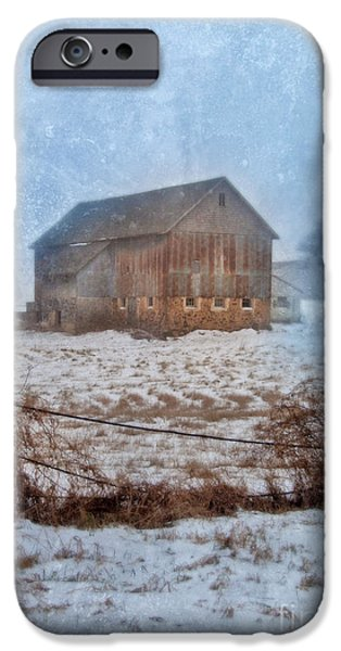 Wintertime iPhone Cases - Barn in Winter iPhone Case by Jill Battaglia