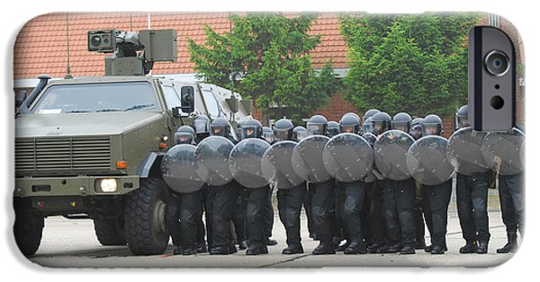 Police Officer iPhone Cases - Belgian Infantry Soldiers Training iPhone Case by Luc De Jaeger