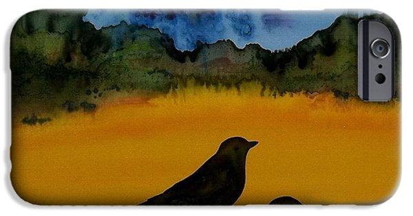 Blackbird Tapestries - Textiles iPhone Cases - 3 Blackbirds iPhone Case by Carolyn Doe