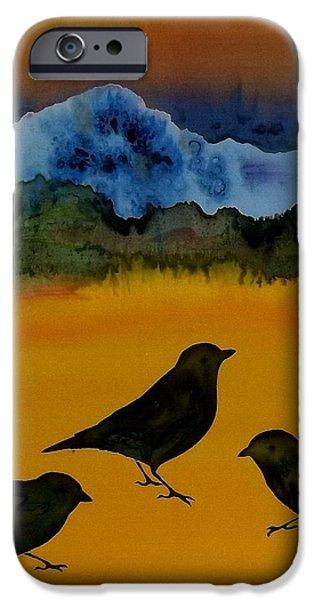 3 blackbirds iPhone Case by Carolyn Doe