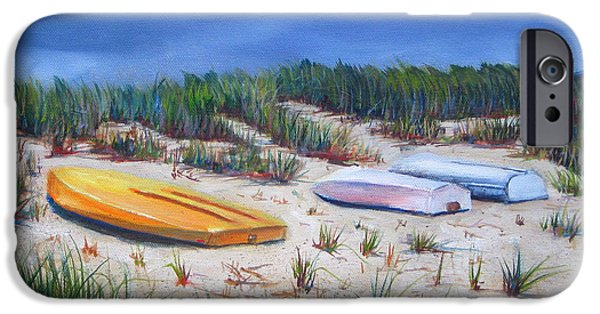 Cape Cod Paintings iPhone Cases - 3 Boats iPhone Case by Paul Walsh