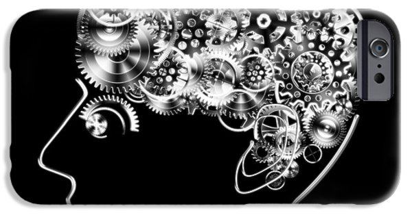 Industrial Icon iPhone Cases - Brain Design By Cogs And Gears iPhone Case by Setsiri Silapasuwanchai