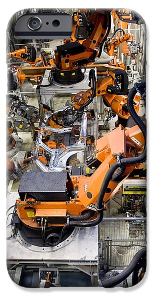 Production Line iPhone Cases - Car Factory Production Line iPhone Case by Arno Massee