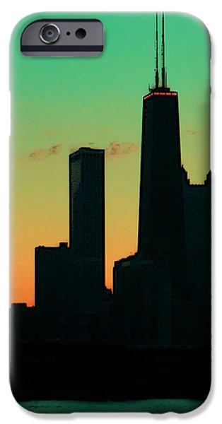 Chicago Skyline Cartoon iPhone Case by Sophie Vigneault