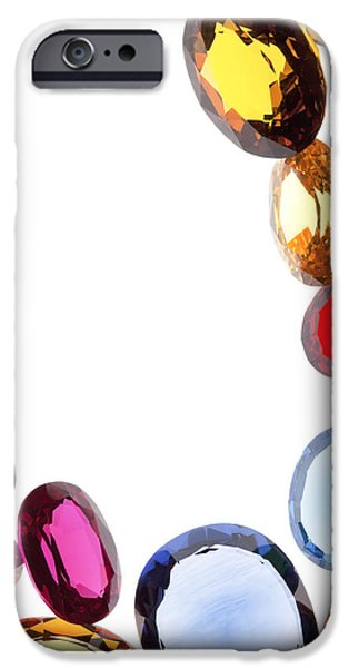 Red Jewelry iPhone Cases - Colorful Gems iPhone Case by Setsiri Silapasuwanchai