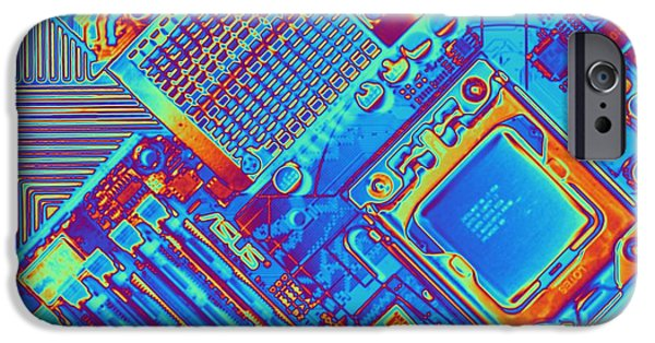 Chip iPhone Cases - Computer Motherboard With Core I7 Cpu iPhone Case by Pasieka