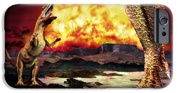 Wildlife Disasters iPhone Cases - Dinosaur Extinction iPhone Case by Victor Habbick Visions