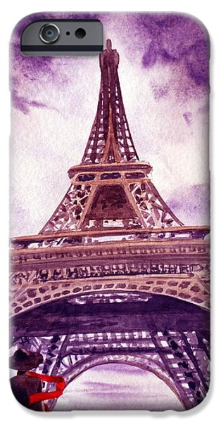 Paris Paintings iPhone Cases - Eiffel Tower Paris iPhone Case by Irina Sztukowski