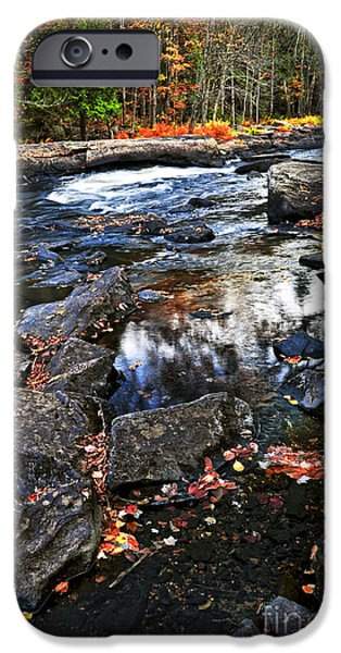 Creek iPhone Cases - Fall forest and river landscape iPhone Case by Elena Elisseeva