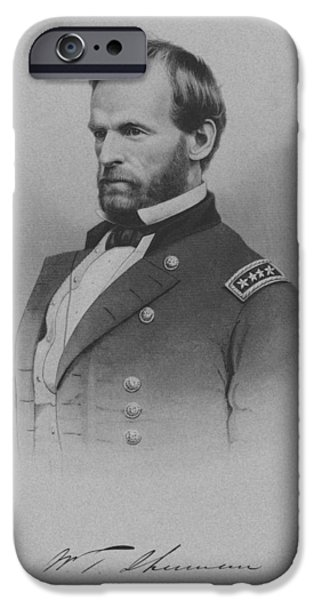 American History iPhone Cases - General William Tecumseh Sherman iPhone Case by War Is Hell Store
