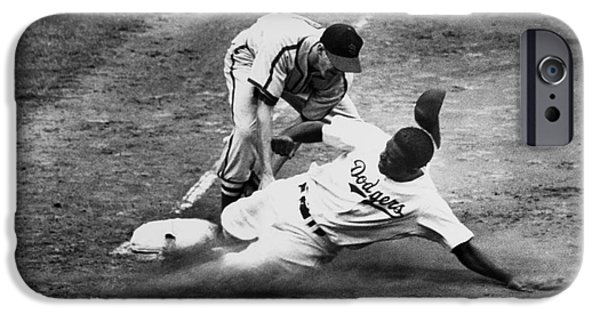 Shortstop iPhone Cases - Jackie Robinson (1919-1972) iPhone Case by Granger