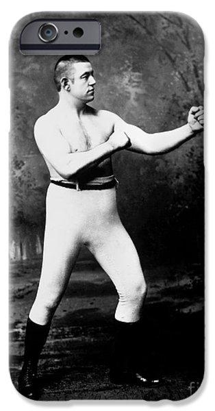 Boxer iPhone Cases - John L. Sullivan (1858-1918) iPhone Case by Granger