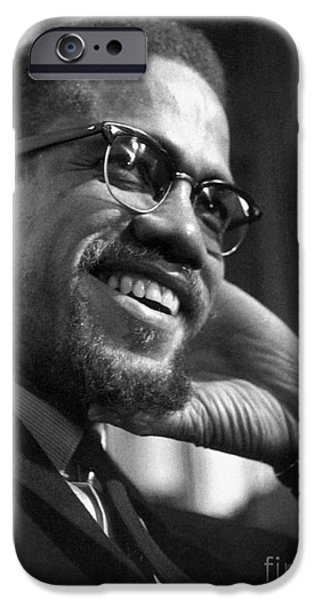 1960s iPhone Cases - Malcolm X (1925-1965) iPhone Case by Granger