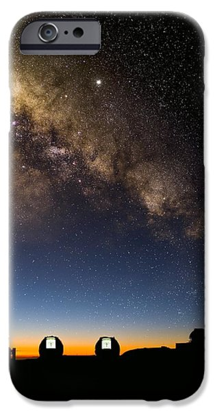 Keck iPhone Cases - Milky Way And Observatories, Hawaii iPhone Case by David Nunuk