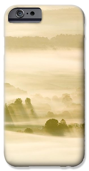 Silhoette iPhone Cases - Morning Mist Over Farmland iPhone Case by Duncan Shaw