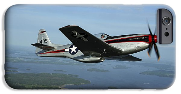 World War One iPhone Cases - North American P-51 Cavalier Mustang iPhone Case by Daniel Karlsson