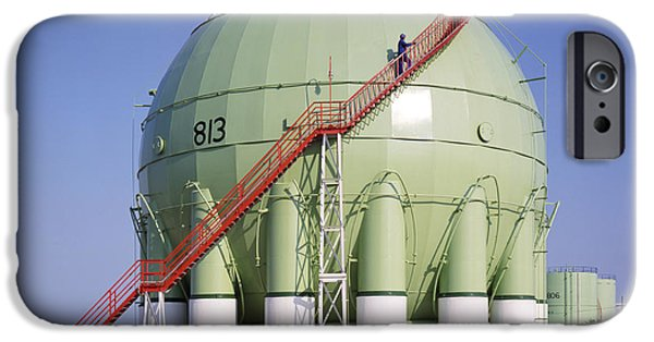 Lpg iPhone Cases - Oil Refinery Storage Tank iPhone Case by Paul Rapson
