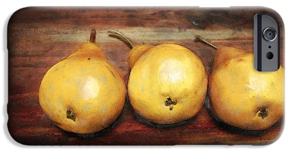 Food iPhone Cases - 3 Pears on a Wooden Table iPhone Case by Julius Reque