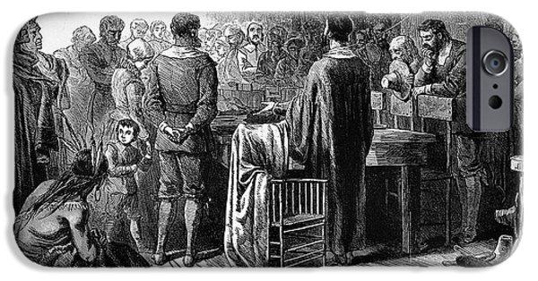Wampanoag iPhone Cases - Pilgrims: Thanksgiving, 1621 iPhone Case by Granger