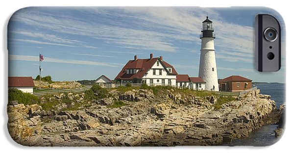 Lighthouse iPhone Cases - Portland Head Lighthouse iPhone Case by Mike McGlothlen