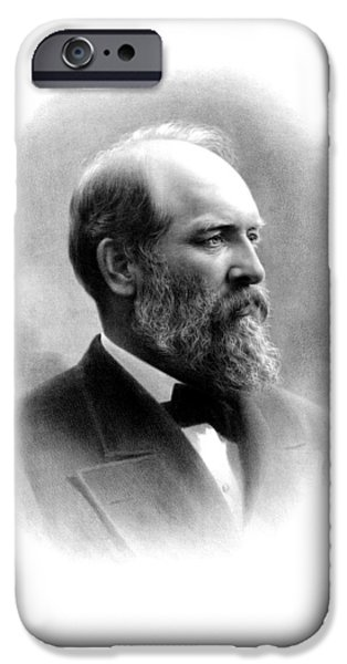 President Drawings iPhone Cases - President James Garfield iPhone Case by War Is Hell Store