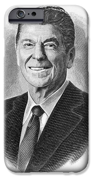 1980 iPhone Cases - Ronald Reagan (1911-2004) iPhone Case by Granger