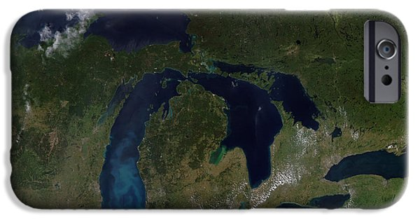 Phytoplankton iPhone Cases - Satellite View Of The Great Lakes iPhone Case by Stocktrek Images