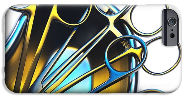 Stainless Steel iPhone Cases - Surgical Instruments In A Dish iPhone Case by Tek Image