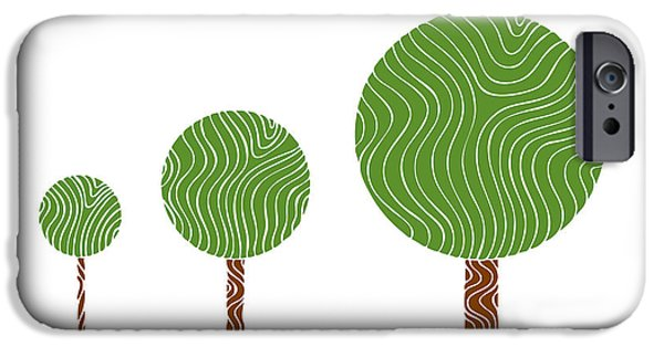 Nature Abstracts Drawings iPhone Cases - 3 Trees iPhone Case by Frank Tschakert