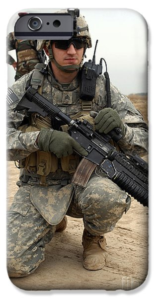 Baghdad iPhone Cases - U.s. Army Sergeant Provides Security iPhone Case by Stocktrek Images