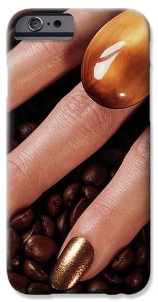 Woman Hands in Coffee Beans iPhone Case by Oleksiy Maksymenko