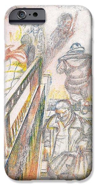 Police Pastels iPhone Cases - 34th Street Subway Entrance  NYC iPhone Case by Al Goldfarb