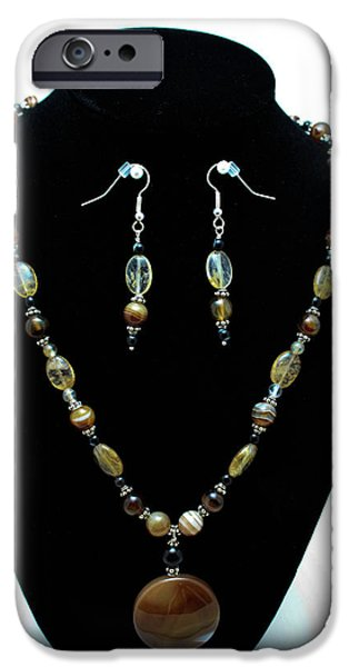 Stones Jewelry iPhone Cases - 3509 Amber Striped Onyx Set iPhone Case by Teresa Mucha