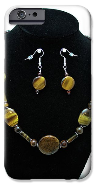 Red Jewelry iPhone Cases - 3510 Tiger Eye Set iPhone Case by Teresa Mucha