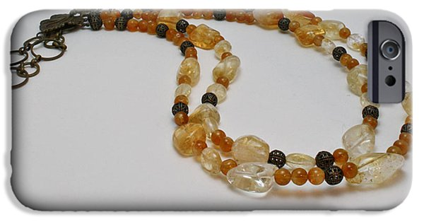 Little Jewelry iPhone Cases - 3514 Citrine Double Strand Necklace iPhone Case by Teresa Mucha