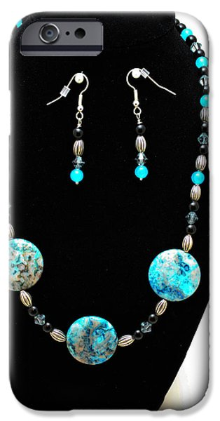 Stones Jewelry iPhone Cases - 3517 Crazy Lace Agate Set iPhone Case by Teresa Mucha