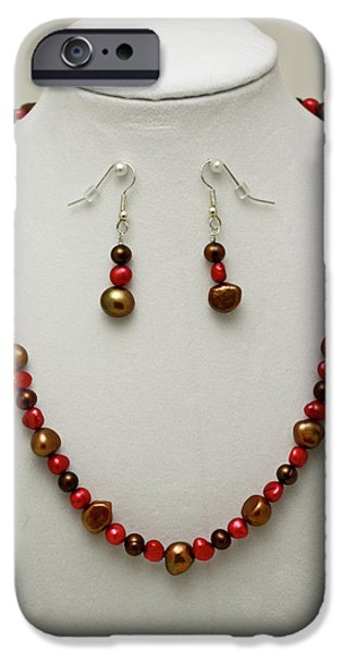 Red Jewelry iPhone Cases - 3536 Freshwater Pearl Necklace and Earring Set iPhone Case by Teresa Mucha