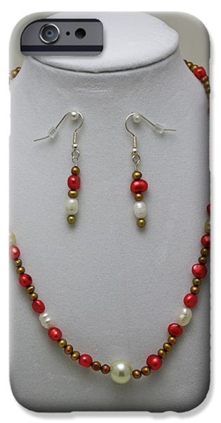 Red Jewelry iPhone Cases - 3539 Pearl Necklace and Earring Set iPhone Case by Teresa Mucha