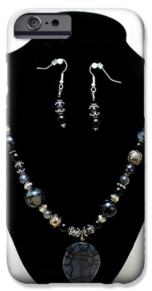 Stones Jewelry iPhone Cases - 3545 Black Cracked Agate Necklace and Earring Set iPhone Case by Teresa Mucha