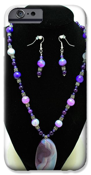 Stones Jewelry iPhone Cases - 3547 Purple Veined Agate Set iPhone Case by Teresa Mucha