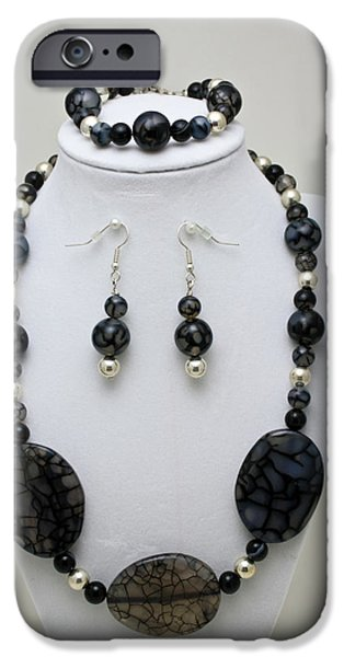 Stripes Jewelry iPhone Cases - 3548 Cracked Agate Necklace Bracelet and Earrings Set iPhone Case by Teresa Mucha