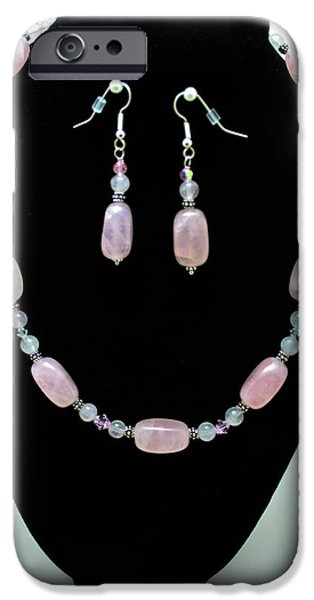 Stones Jewelry iPhone Cases - 3558 Rose Quartz Set iPhone Case by Teresa Mucha