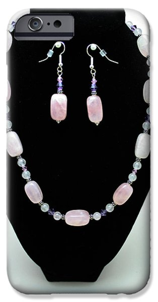 Stones Jewelry iPhone Cases - 3560 Rose Quartz Necklace and Earrings Set iPhone Case by Teresa Mucha